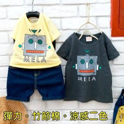 【班比納精品童裝】彈力竹節棉方塊機器人上衣-灰/黃【BO18031308】