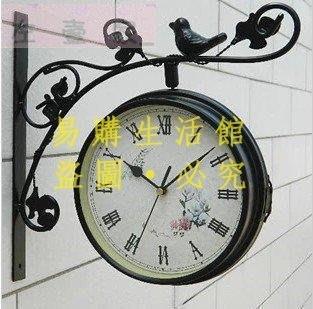 [王哥廠家直销]歐式正品鐵藝金屬小鳥雙面掛鐘 時尚客廳兩面掛鐘靜音田園韓式鐘表時鐘金屬指針鐘錶LeGou_1665_166