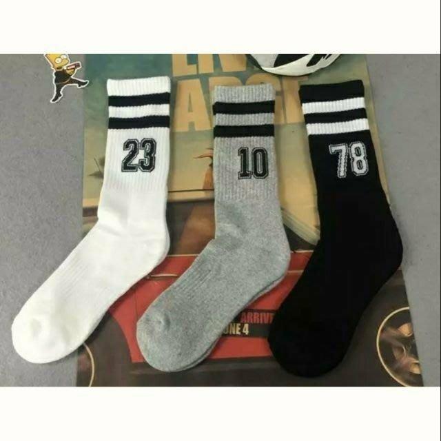 (購6雙免運)小腳女襪 潮襪 滑板襪 雙槓數字 中筒襪 毛巾底