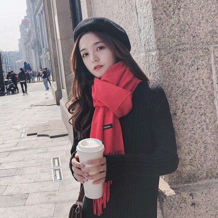 Fashion*冬天不可缺少的圍巾 冬季韓國百搭針織披肩 女紅色秋冬季兩用圍巾