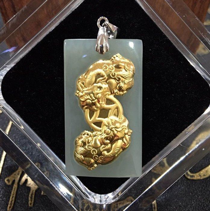 珍奇翡翠珠寶-天然和田玉,金鑲玉,足金咬錢貔貅,大師精緻雕工,不是一般的做工,附證書
