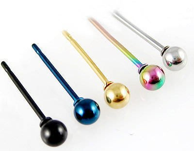 ☆追星☆ 762(多色可選)圓球耳環(1個)基本款0.3公分 西德鋼 不易過敏KEY中性 飾品 耳骨