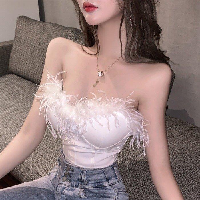 小香風 短袖T恤 時尚穿搭 夜店女神時尚毛毛拼接 性感 內搭裹胸打底上衣短款抹胸