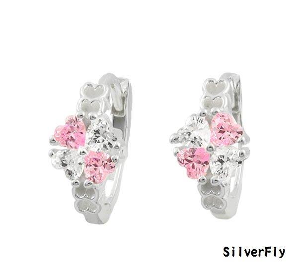 白粉鑽小花純銀易扣耳環《 SilverFly銀火蟲銀飾 》