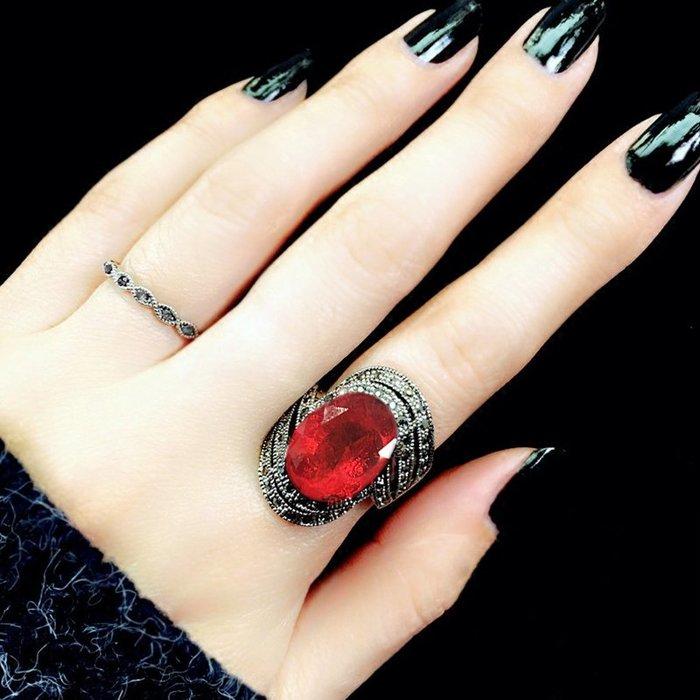 戒指 銀飾 情侶戒 婚戒 日韓潮人個性夸張紅寶石戒指女大碼關節戒韓版學生套裝復古食指環
