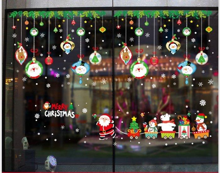Amy烘焙網:雙組合聖誕快樂/卡通聖誕老人玻璃窗櫥窗雙面貼/時尚聖誕節櫥窗玻璃雙面背景裝飾牆貼紙