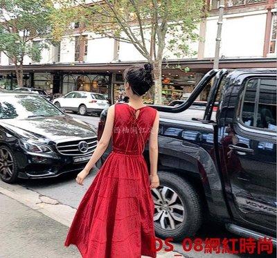 DS_08網紅時尚大喜自制同款紅色無袖連衣長裙2019夏季新款抖音網紅度假裙子