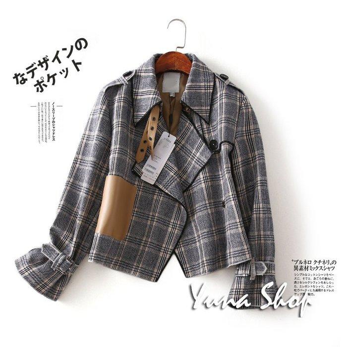 ☆YUNA SHOP☆【B-81921】復古氣質百搭寬鬆顯瘦翻領格子短版外套西裝外套 兩件免運