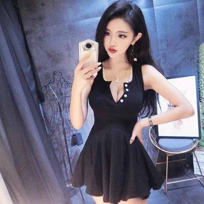 小心機夜場女裝性感洋裝新款夏季收腰顯瘦深V領低胸無袖連衣裙子