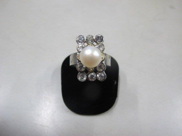 二手舖 NO.3976 天然珍珠 鑲鑽造型戒指 首飾飾品 全新