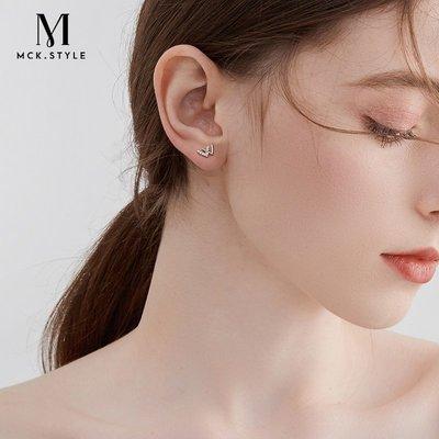SWEET COVE~w字母耳釘女S925純銀高級感氣質輕奢耳環2021年新款潮雙v耳飾精致