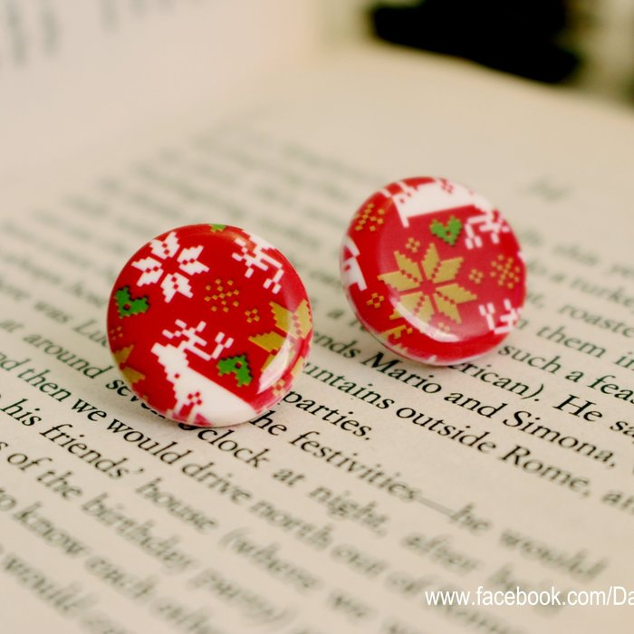 正韓紅色耶誕復古雪花麋鹿圖騰大圓耳環 聖誕飾品壓克力糖果耳環 抗過敏鋼針 實拍現貨 米絲小姐玩時妝