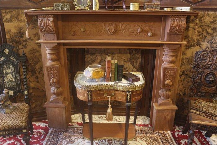 【家與收藏】特價極品稀有珍藏歐洲古董法國華麗宮廷手工木雕花大尺寸壁爐框