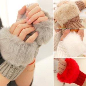 韓版短版仿兔毛針織手套 毛毛露指手套 時尚穿搭配件保暖毛線手套-艾發現