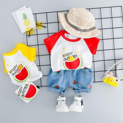 【吉仔媽媽】寶寶夏裝套裝女童短袖兩件套小童洋氣2嬰兒童裝1-3周歲男童衣服夏C142