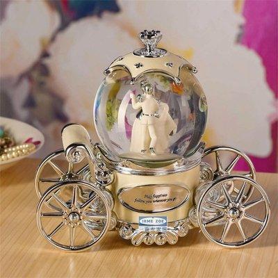 音樂盒水晶球八音發光南瓜車旋轉圣誕兒童情人節結婚生日禮物女生WY