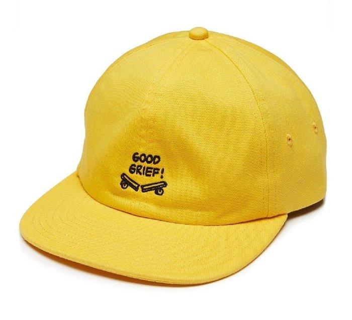 { POISON } VANS x PEANUTS JOCKEY HAT GOOD GRIEF 刺繡老帽 後扣棒球帽 黃