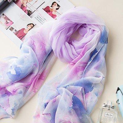 好物多商城 韓版新款夏季防曬絲巾超薄冰絲雪紡百搭圍巾海邊防曬披肩圍巾