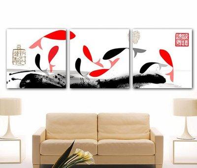 【厚1.2cm】經典鯉魚風水九魚圖-客廳現代簡約裝飾畫無框畫【190114_582】【60*60cm】1套價