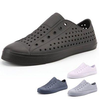 男女款 全色造型防水止滑小白鞋 全黑上班鞋 休閒鞋 懶人鞋 洞洞鞋 防水鞋 Ovan