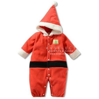 【可愛村】 聖誕老公公造型珊瑚絨連帽連身衣
