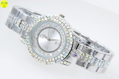 (六四三精品)大型錶殼.銀色面盤.銀白色錶殼.滿天星晶鑽精準錶!