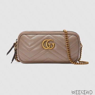 【WEEKEND】 GUCCI GG Marmont Mini Chain 迷你 鍊條 肩背包 裸粉色 546581