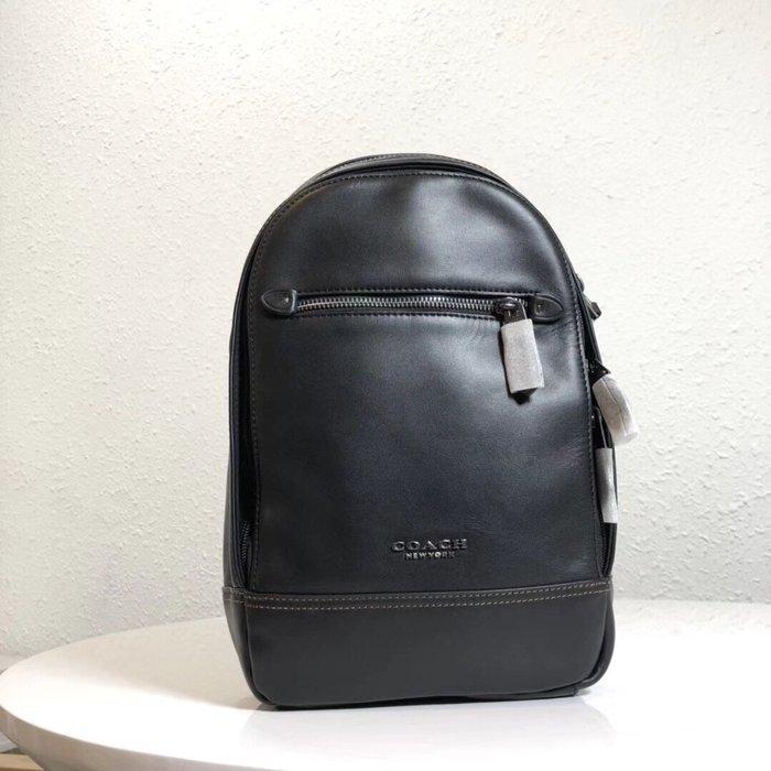 【紐約精品舖】COACH 37598 黑色 新款男士全皮胸包 斜跨包 多功能包 潮流時尚 超低直購 美國正品代購