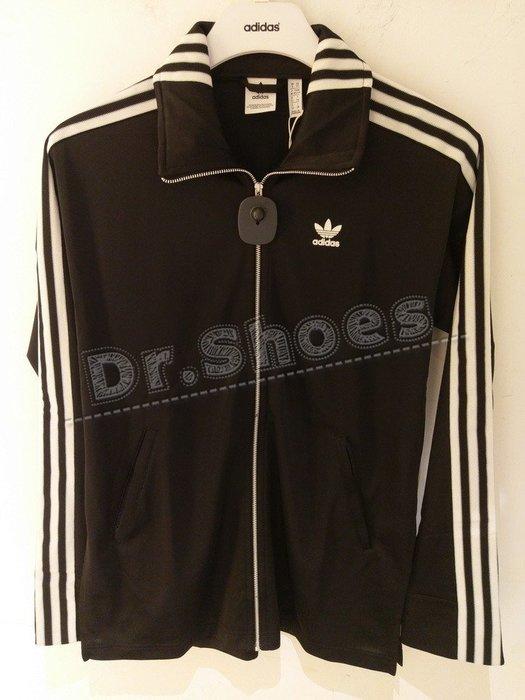 【Dr.Shoes 】Adidas Track Jacket 女裝 黑白 口袋 運動休閒 立領外套 DH4234