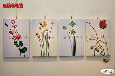 4拼花卉E03 純手繪 油畫 直幅*4...