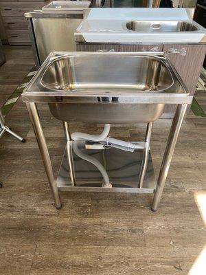 吉田二手傢俱❤全新304不銹鋼水槽 廚房洗碗池 洗手盆 不鏽鋼水槽架 洗衣槽 洗手台 洗手槽 單槽帶支架 62水槽