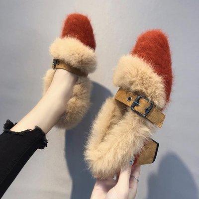 【蘑菇小隊】韓版秋春季外穿網紅毛毛鞋女2019新款棉瓢鞋加絨單鞋高跟豆豆女鞋-MG22909