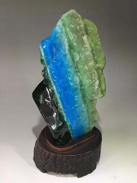 *藏雅軒*印尼海藍寶綠曜岩火山琉璃-樟木底座-2762g