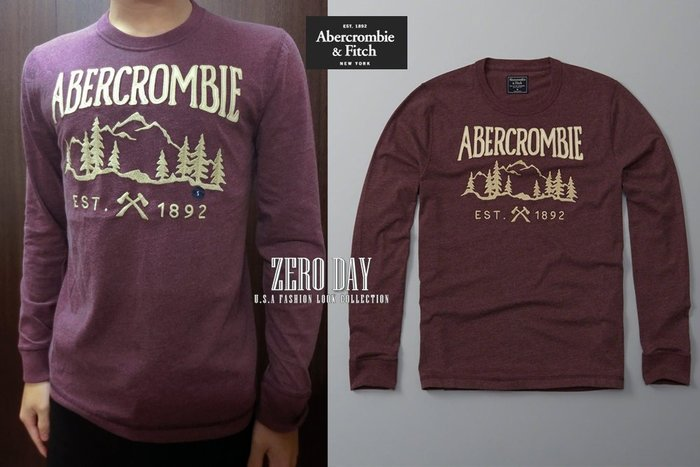 零時差美國時尚網A&F真品Abercrombie&Fitch Logo Graphic Long-Sleeve Tee紅