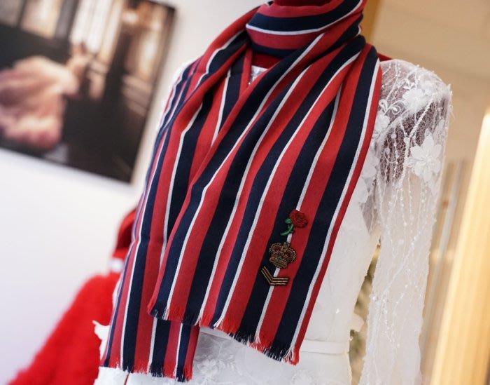 Gucci 428424 stole 羊毛絲 刺繡條紋披肩 藍/紅/白