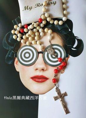 黑爾典藏西洋古董~美國塑料普普風紅白彩珠基督十字墜子/項鍊~Vintage天主義大利宗教系列