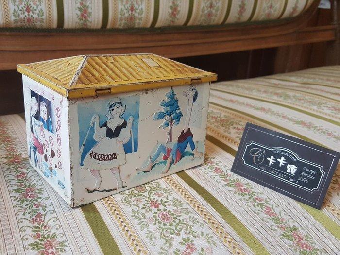 【卡卡頌 歐洲跳蚤市場/歐洲古董】歐洲老件_老鐵盒 存錢筒 可愛鄉村 房子造型 小物收納盒 m0472 提供租借✬