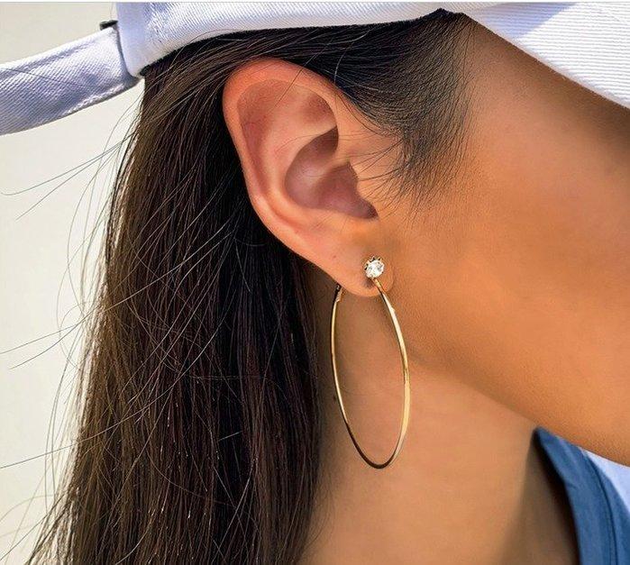 單鑽圈圈耳環 金色 銀色