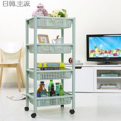 收納 浴室收納廚房收納架大號塑料浴室置物架洗手間滑輪方形落地蔬菜水果儲物架