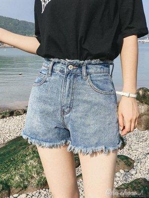 正韓港味復古毛邊chic牛仔短褲女高腰顯瘦闊腿寬鬆熱褲