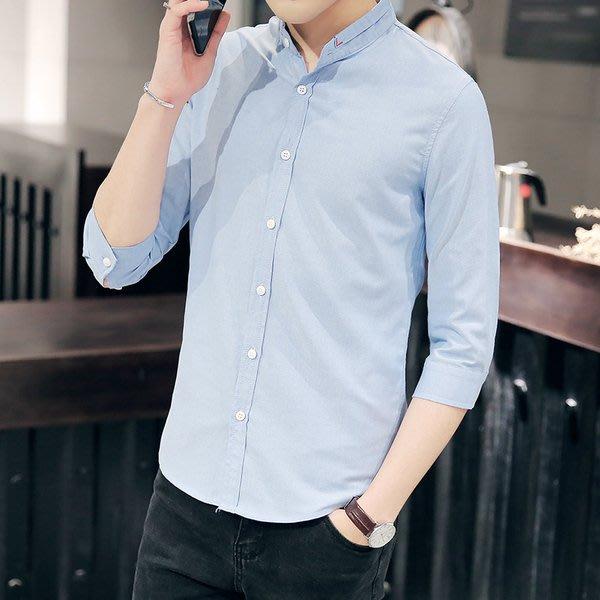 男士7七分袖襯衫薄款韓版修身潮流中袖休閒髮型師白色短袖襯衣男
