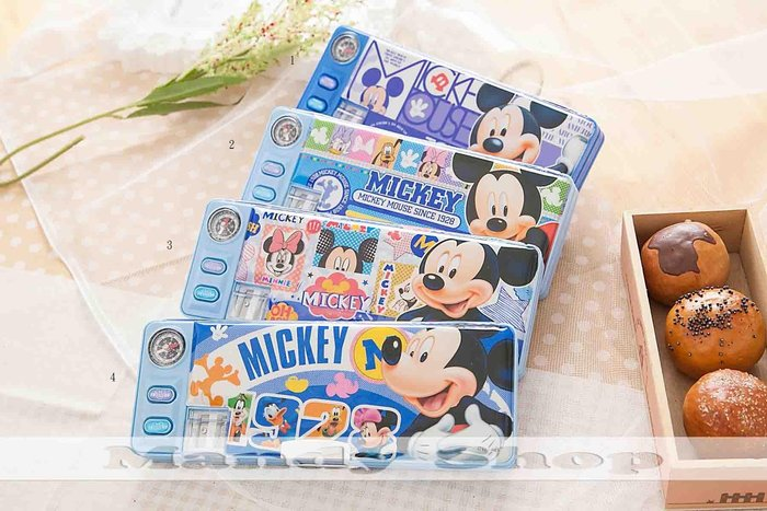 mandyshop【M2896】㊣ Disney迪士尼 / 米奇/多功能設計鉛筆盒 / 收納盒送3枝鉛筆