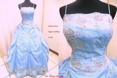 *~時尚屋~*婚紗禮服~大尺碼 二手晚禮服 水藍色歐式浪漫設計師宮廷造型款~K303(歡迎預約試穿)