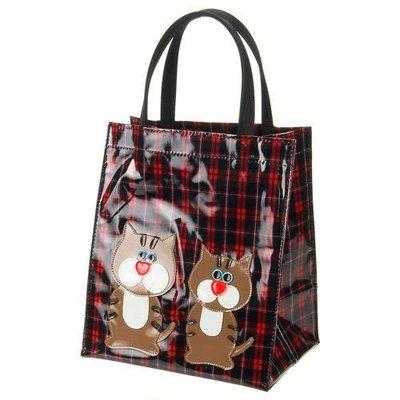 ◎Life Sense◎【日本製】防水格紋紅鼻貓咪手提袋 保溫瓶袋 傘袋 水壺袋 便當袋 提瓶袋 雙杯袋