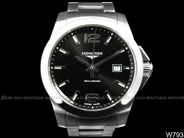 金鐸精品~W793 LONGINES 浪琴 Conquest 康卡斯系列 深海征服者防水300米 石英男用腕錶