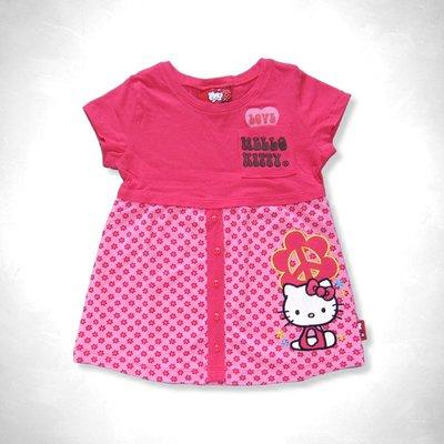 Hello Kitty 小女孩桃紅色口袋花朵假兩件式短袖棉T(5T) (307391) ~全新正品