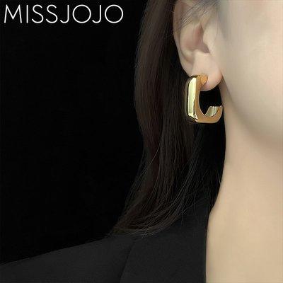 SWEET COVE~歐美網紅時尚博主同款氣質個性大號方形光版鈦鋼鍍18K金色耳釘女