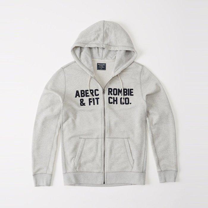 美國百分百【Abercrombie & Fitch】外套 AF 連帽 夾克 外搭 麋鹿 淺麻灰 S號 I597
