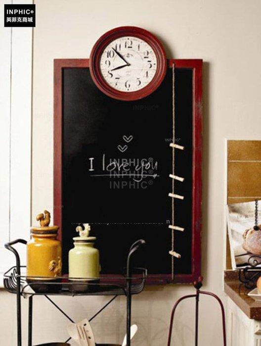 INPHIC-木質多功能黑板壁掛  含時鐘與memo夾_Y328