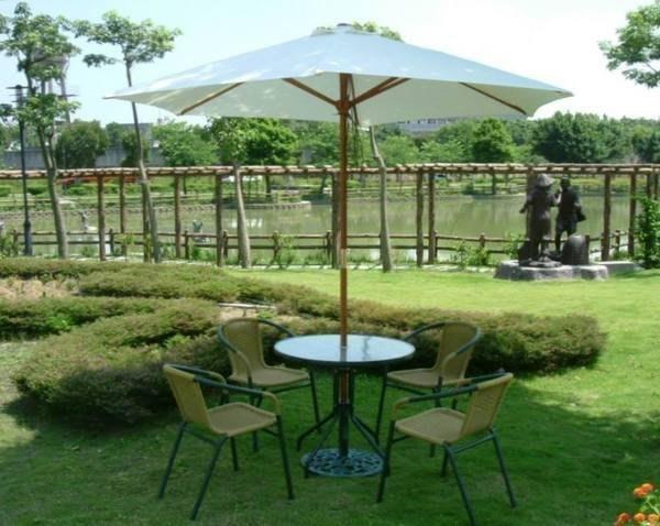 [兄弟牌戶外休閒傢俱]PE藤椅4張+80cm玻璃圓桌組(含9尺米白或綠色木柄傘及12kg鑄鐵傘座) 餐椅休閒椅免運費
